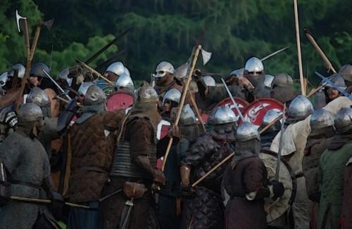 men in battle vikings fighting